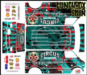 Circus of Destruction themed vinyl SKIN Kit & Stickers To Fit Tamiya Lunchbox R/C Monster Truck